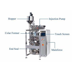 Vertikal Form Fill Seal Machine Med Pistion Filler For Liquid